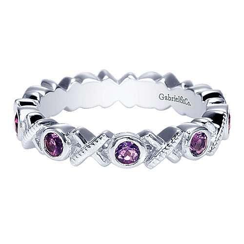 925 Sterling Silver Amethyst Xoxo Ladies Ring