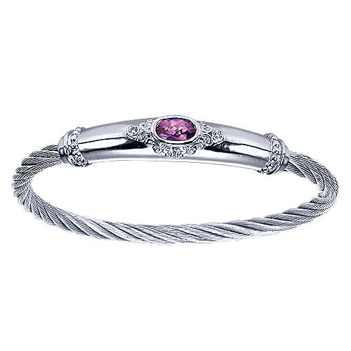 925 Sterling Silver Amethyst and Diamond Stainless Steel Twisted Cable Bangle