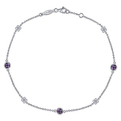 925 Sterling Silver Amethyst and White Sapphire Ankle Bracelets