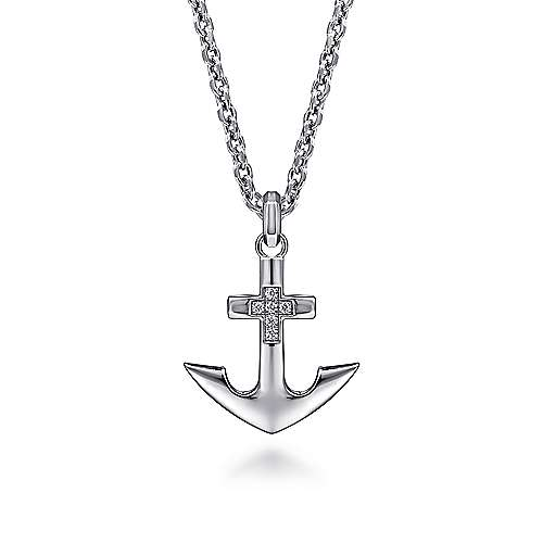 925 Sterling Silver Anchor Pendant with Diamonds
