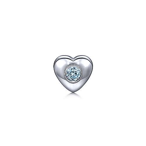 925 Sterling Silver Aquamarine Heart Pendant