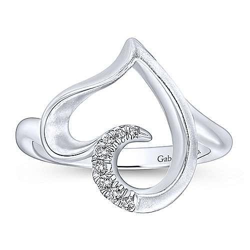 925 Sterling Silver Asymmetrical Open Heart White Sapphire Ring