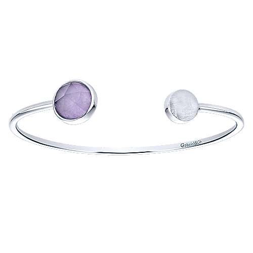 925 Sterling Silver Bangle with Rock Crystal/Purple Jade Accents