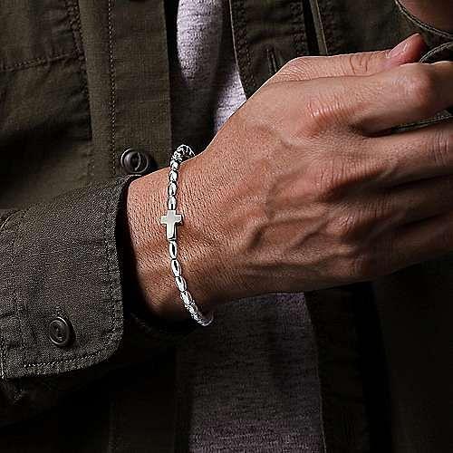 925 Sterling Silver Beaded Cross Bracelet
