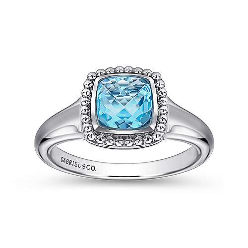 925 Sterling Silver Beaded Cushion Cut Blue Topaz Ring