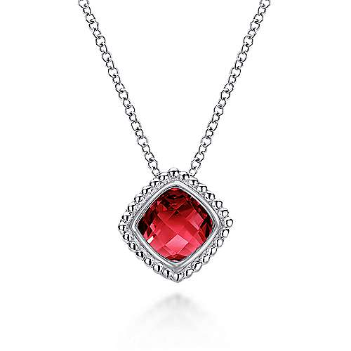 925 Sterling Silver Beaded Cushion Cut Garnet Necklace