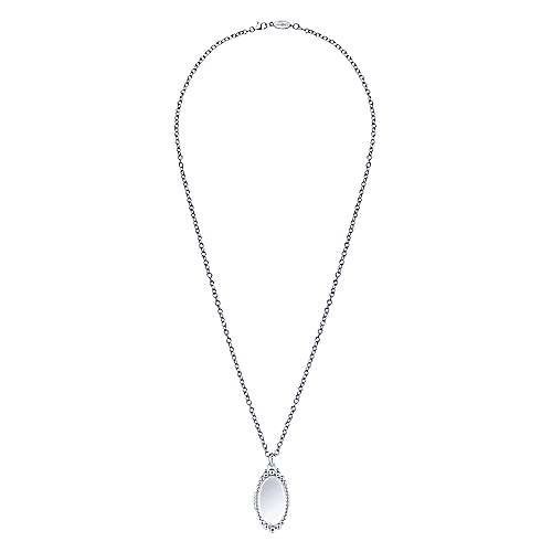 925 Sterling Silver Beaded Glass Front Oval Locket Necklace