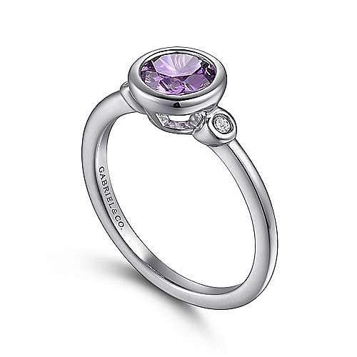 925 Sterling Silver Bezel Set Amethyst and Diamond Ring