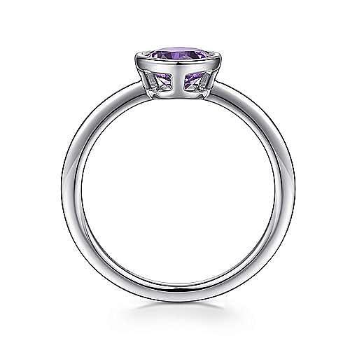925 Sterling Silver Bezel Set Aquamarine Ring