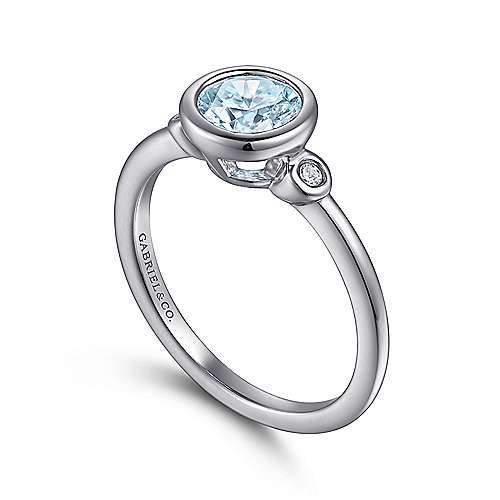 925 Sterling Silver Bezel Set Aquamarine and Diamond Ring