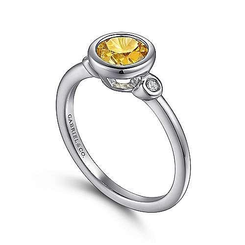 925 Sterling Silver Bezel Set Citrine and Diamond Ring