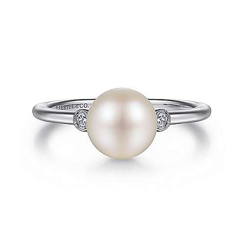 925 Sterling Silver Bezel Set Diamond and Pearl Fashion Ladies Ring