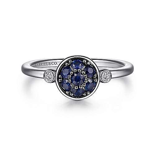 925 Sterling Silver Bezel Set Diamond and Round Sapphire Cluster Fashion Ladies Ring