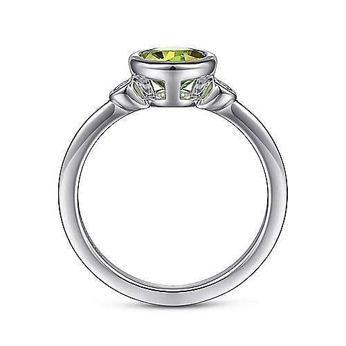 925 Sterling Silver Bezel Set Peridot and Diamond Ring
