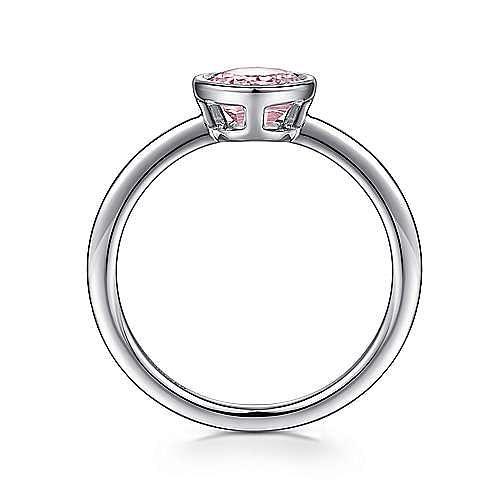 925 Sterling Silver Bezel Set Pink Created Zircon Ring