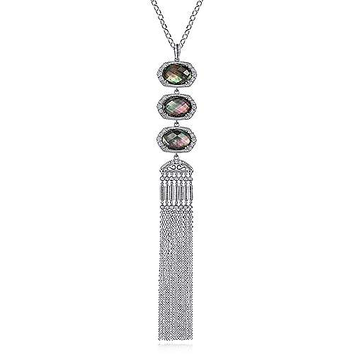 925 Sterling Silver Black Mother of Pearl Doublet and White Sapphire Tassel Necklace