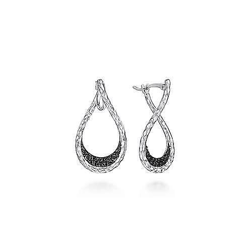 925 Sterling Silver Black Spinel Bypass Pear Shaped Hoop Earrings