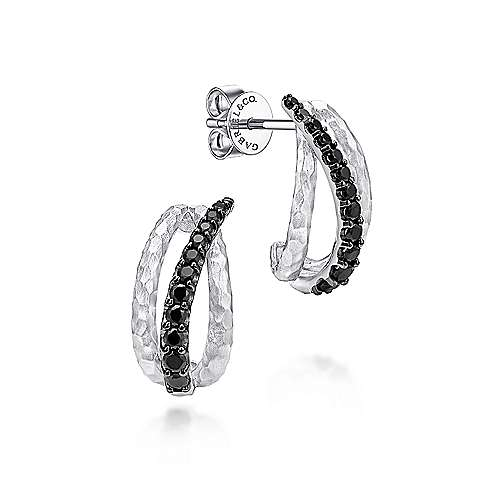 925 Sterling Silver Black Spinel Curved Drop Earrings