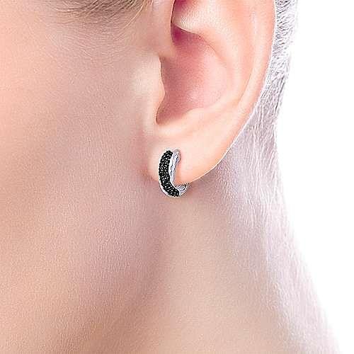 925 Sterling Silver Black Spinel Huggie Earrings