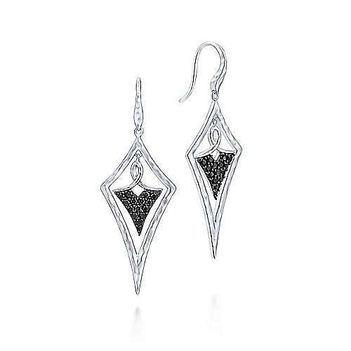 Gabriel - 925 Sterling Silver Black Spinel Kite Shaped Drop Earrings