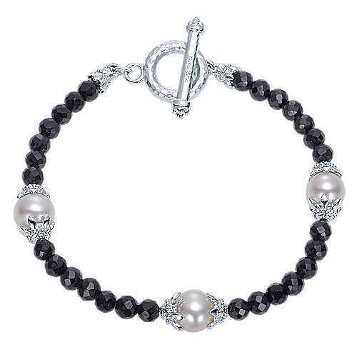 925 Sterling Silver Black Spinel Toggle Bracelet with Pearl Stations