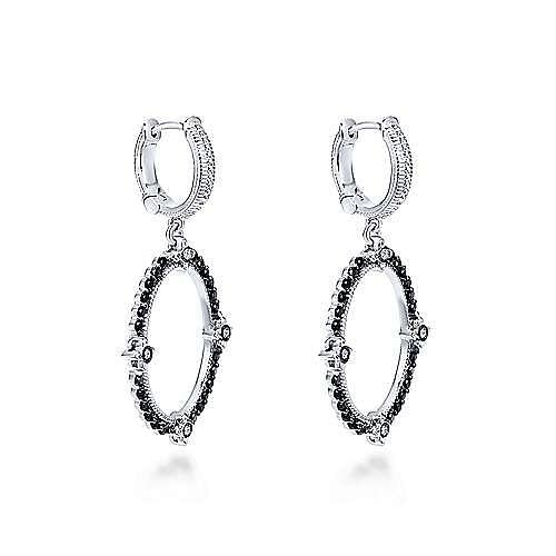 925 Sterling Silver Black Spinel Vintage Inspired Oval Drop Earrings