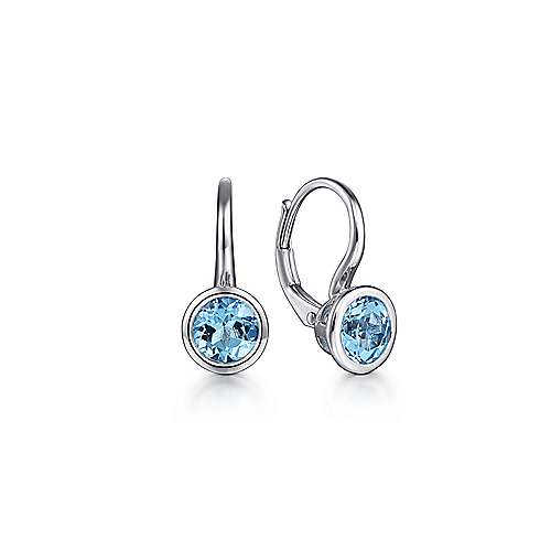 925 Sterling Silver Blue Topaz Drop Earrings