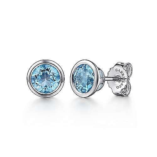 925 Sterling Silver Blue Topaz Stud Earrings