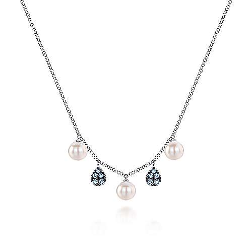 925 Sterling Silver Blue Topaz and Pearl Drops Necklace
