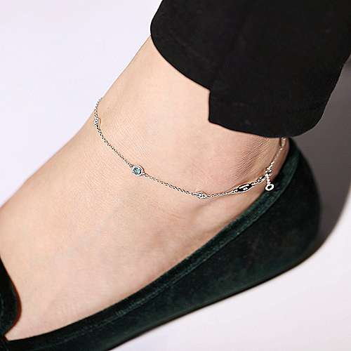 925 Sterling Silver Blue Topaz and White Sapphire Ankle Bracelets