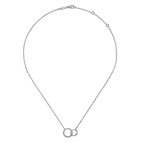925 Sterling Silver Bujukan Beaded Double Circle Necklace
