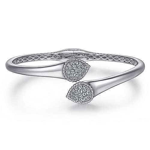 925 Sterling Silver Bypass Bangle with White Sapphire Pave