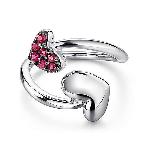 925 Sterling Silver Bypass Heart Ring with Ruby Stones