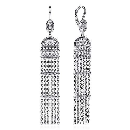 925 Sterling Silver Cascading Drop White Sapphire Leverback Earrings