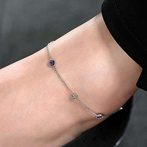 925 Sterling Silver Chain Ankle Bracelet with Amethyst and White Sapphire