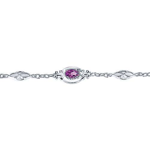 925 Sterling Silver Chain Bracelet with Oval Amethyst Stations