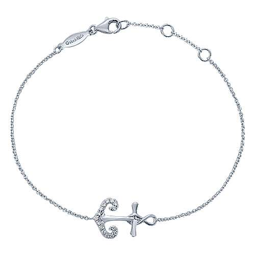 925 Sterling Silver Chain Bracelet with White Sapphire Anchor Charm