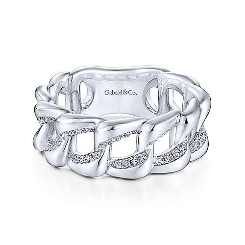925 Sterling Silver Chainlink White Sapphire Ring