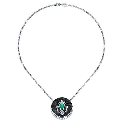 925 Sterling Silver Circle Twisted Oval Green Onyx and Bezel Set White Sapphire Pendant Necklace
