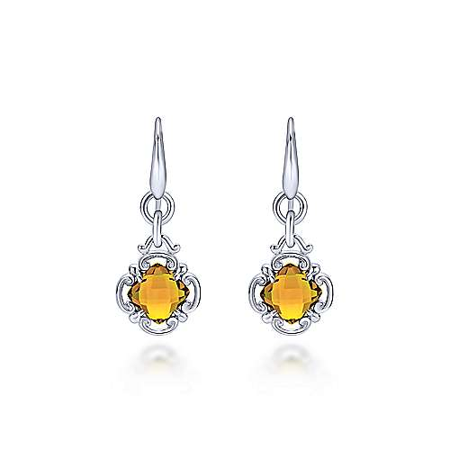 925 Sterling Silver Citrine Clover Drop Earrings
