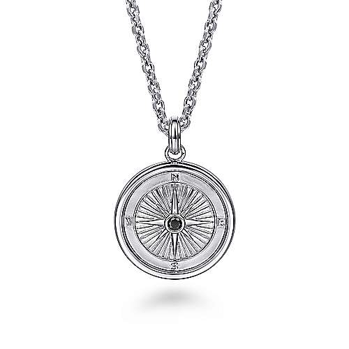 925 Sterling Silver Compass Pendant with Black Spinel Stone
