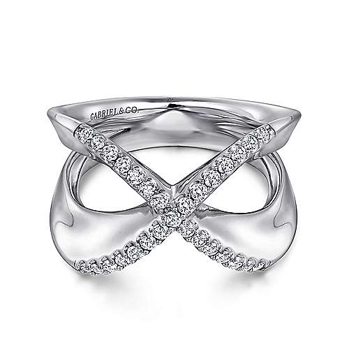 925 Sterling Silver Criss Crossing White Sapphire Open Ring