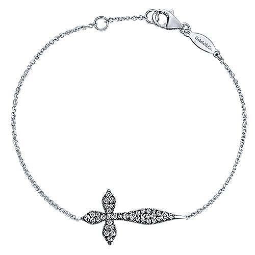 925 Sterling Silver Cross White Sapphire Bracelet