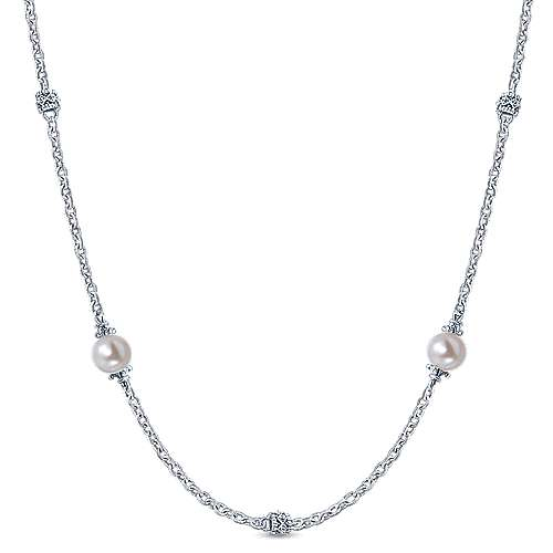 925 Sterling Silver Cultured Pearl Station Necklace