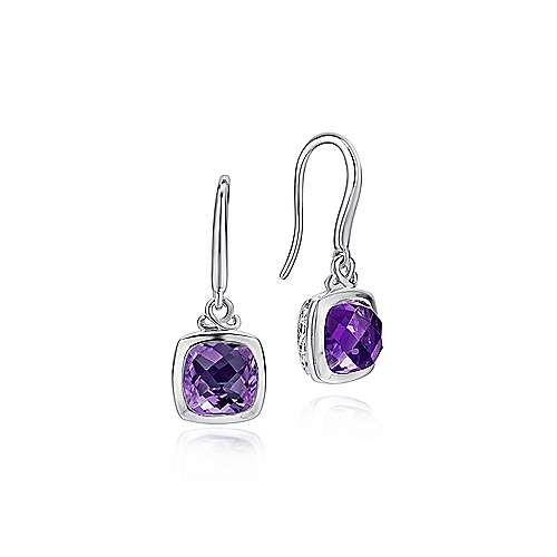925 Sterling Silver Cushion Bezel Amethyst Drop Earrings