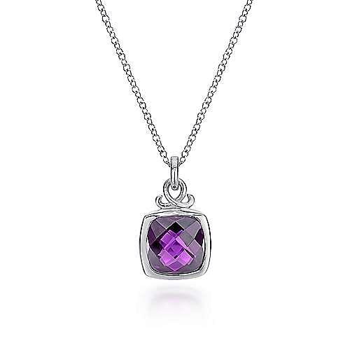 925 Sterling Silver Cushion Cut Amethyst Fashion Necklace