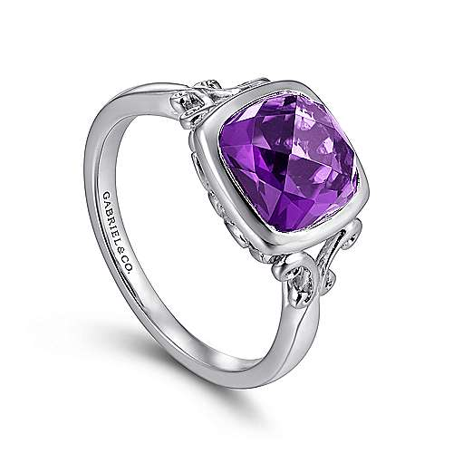 925 Sterling Silver Cushion Cut Amethyst Ring