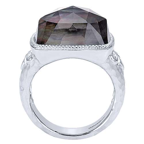 925 Sterling Silver Cushion Cut Black Mother of Pearl Ring