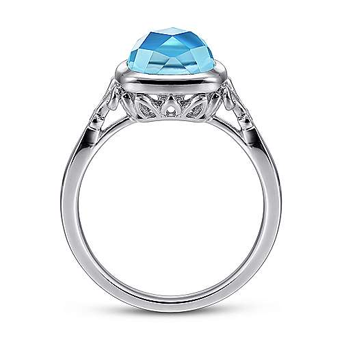 925 Sterling Silver Cushion Cut Blue Topaz Ring