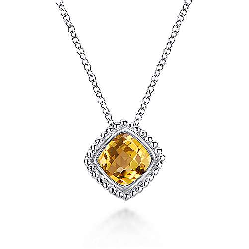 925 Sterling Silver Cushion Cut Citrine Pendant Necklace